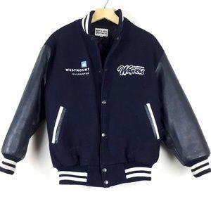 Vintage blue varsity jacket leather wool athletic